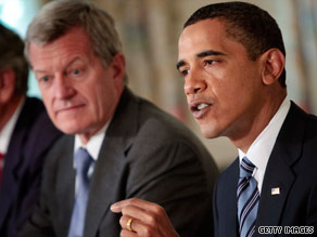 Sen. Max Baucus listens as President Obama speaks during a meeting on health care.