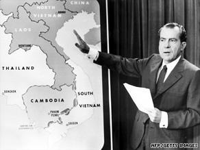 President Nixon announces the U.S. incursion into Cambodia during the Vietnam War in April 1970.