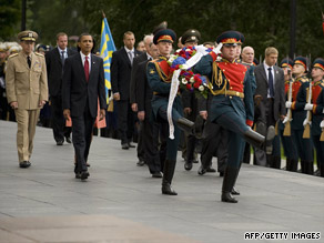 President Obama prepares to lay a wreath at the Tomb of the Unknown Soldier in Moscow on Monday.