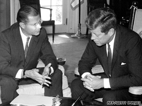 Robert McNamara meets with President Kennedy in the Oval Office in 1963. He died, Monday, at the age of 93.