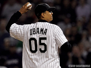 President Obama threw the opening pitch at the 2005 Chicago White Sox-Anaheim Angels game.