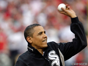 President Obama throws out the first pitch at the 2009 All-Star Game onTuesday in St Louis, Missouri.