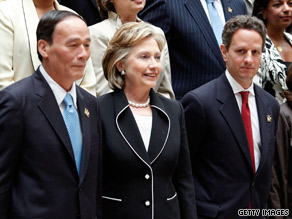 Secretary of State Hillary Clinton, Treasury Secretary Tim Geithner and Chinese Vice Premier Wang Qishan in Washington.