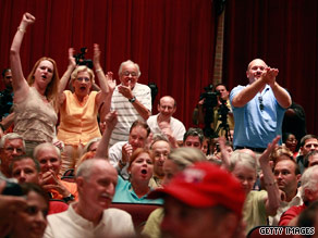 False rumors about health care have been aired at town hall meetings, like this one in Maryland last week.