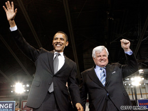 Sen. Ted Kennedy was an early supporter of Barack Obama's presidential campaign.