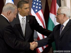 Benjamin Netanyahu, left, President Obama and Mahmoud Abbas.