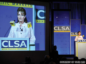 Sarah Palin's speech at CLSA Investors' Forum appeared to be largely well received.
