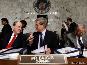Sen. Max Baucus said the public option provision would 'hold back meaningful reform this year'.