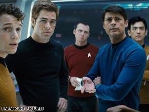 From L-R: Anton Yelchin as Pavel Chekov, Chris Pine as James T. Kirk, Simon Pegg as Scottie, Karl Urban as Dr. Leonard 'Bones' McCoy and John Cho as Hikaru Sulu