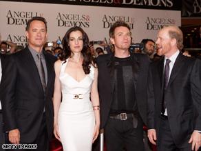 From left, actors Tom Hanks, Ayelet Zurer and Ewan McGregor join director Ron Howard at the film's premier.