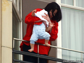 Michael Jackson courted controversy in 2002 when he dangled his son over a hotel balcony in Germany.