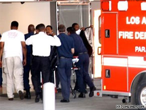 Michael Jackson arrives at UCLA Medical Center on Thursday.