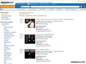 Michael Jackson's albums took the top 15 slots on Amazon.com's top 50 album downloads.