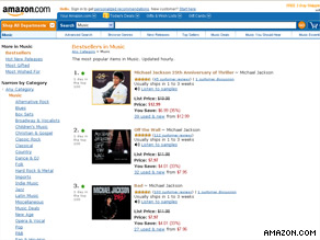 Michael Jackson's albums took the top 15 slots on Amazon.com's top 50 album downloads.