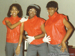 The Due sisters -- Johnita, left, Tananarive, center and Lydia -- prepare for a Jackson concert in 1984.
