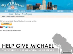 A donation page on the City of Los Angeles' Web site has crashed several times since its launch.