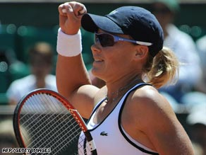 Samantha Stosur celebrates after upsetting Elena Dementieva at Roland Garros.