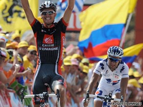 Sanchez outsprints Sandy Casar to secure victory in Saturday's eighth stage of the Tour de France.