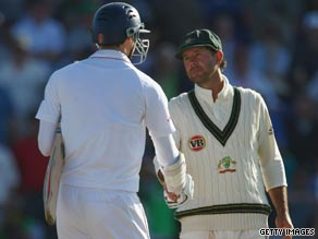 Man of the match Ricky Ponting, right, congratulates England batsman James Anderson after the draw.