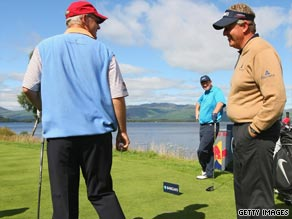 Sandy Lyle, left, chats to Colin Montgomerie during the Pro-Am prior to last week's Scottish Open.