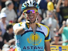 Alberto Contador celebrates after his superb stage 15 victory saw him take the Tour de France yellow jersey.