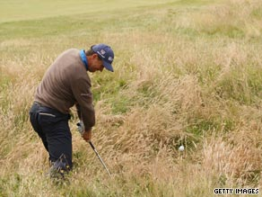 Rough week. Harrington hits out of the long stuff at Turnberry on Saturday.