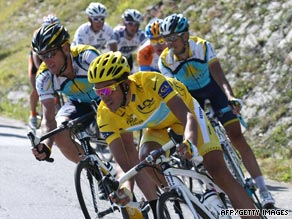 Alberto Contador, in yellow, leads Astana teammates Lance Armstrong, left, and Andreas Kloden.