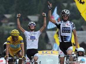 The Schleck brothers celebrate Frank's stage victory as yellow jersey Contador extends his overall race lead.