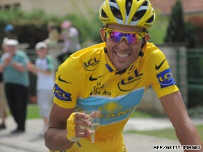 Alberto Contador has time to celebrate his second Tour de France victory in three years.