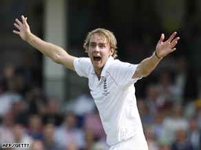 Broad celebrates a wicket during his inspired spell at The Oval.