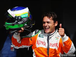 Giancarlo Fisichella celebrates after claiming Force India's first pole in two years of racing in F1.