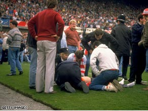 Liverpool fans had to be treated on the pitch as the tragedy unfolded at Hillsborough in 1989.