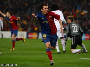 Lionel Messi celebrates his opening goal as Barcelona overpowered Bayern Munich at the Nou Camp.