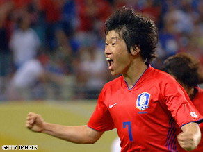 South Korea's Park Ji-Sung celebrates after at the 2006 World Cup  against France.
