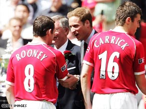 Prince William will re-acquaint himself with Manchester United's players in Rome on Wednesday night.