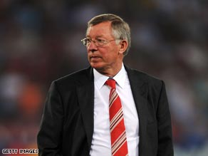A dejected Ferguson trudges off after his team were beaten in Rome.