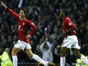 The Portuguese star scores his first goal for United. A freekick against Porstmouth in November 2003.