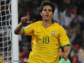 Kaka celebrates after his last-gasp penalty gives holders Brazil an opening win in their Confed Cup victory.