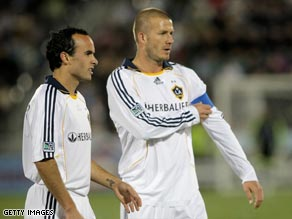 Landon Donovan, left, is unhappy with David Beckham's contribution at LA Galaxy.