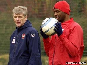 Arsene Wenger, left, is debating whether to bring back former Arsenal captain Patrick Vieira, right.