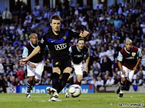 Michael Carrick misses his first-half penalty as Manchester United slumped to a stunning defeat at Burnley.