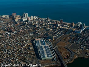 Atlantic City's convention center, in the lower center of this photo, has the largest solar-paneled roof in the U.S.