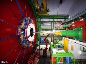 The Compact Muon Solenoid, shown here in December, is one of six experiments inside the collider complex.