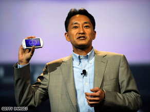 Kazuo Hirai, CEO of Sony Computer Entertainment, displays the new Sony PSP Go at E3 Tuesday.