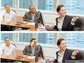 A black man in an online Microsoft ad was replaced with a white man, bottom, on the company's Polish Web site.