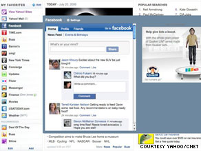 Yahoo's new home page permits applications from Yahoo or others like Facebook, seen here.