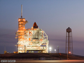 Space shuttle Discovery readies for launch, which was scheduled for Wednesday night.