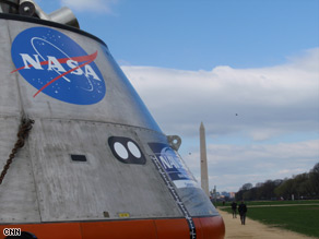 NASA displayed a mockup of its Orion crew module on the National Mall on Monday.