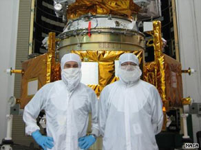 Dan Andrews, LCROSS manager (left) and Craig Tooley, LRO manager stand in front of the spacecraft. (NASA)