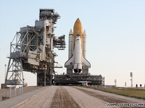 Space shuttle Endeavour, shown here last month, is rolled out to its launch pad at the Kennedy Space Center.